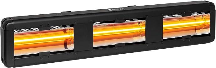 blumfeldt Heat Giant - Radiador por Infrarrojos, IR ComfortHeat, Potencia 3 x 2000 W, Alcance 70 m², IP65, Interior/Exterior, Instalación en la Pared, Aluminio Recubierto con Pintura en Polvo, Negro