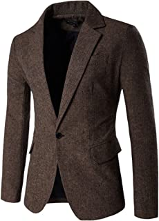 ZongSen Mens Slim Fit Casual One Button Single Breasted Tweed Blazer Business Jacket