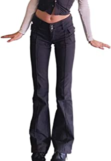 Indie Aesthetics E-Girl Vintage Trousers for Women Low Waist Flare Pants Slim Fit Pockets Fashion Black Pants Y2K Streetwear