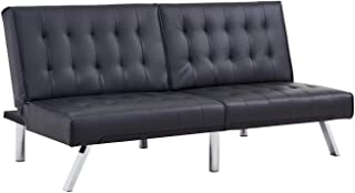 Homegear Furniture Futon Sofa Bed Split Back Couch Black