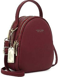 WANYIG Frauen Mini Rucksack Kleine Handy Schultertasche Damen PU Leder Daypack Tasche Umhängetasche Schulrucksäcke Handtas...