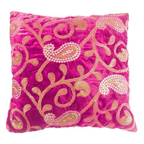 Housse de coussin en velours rose avec motif cachemire brodé 40,6 cm