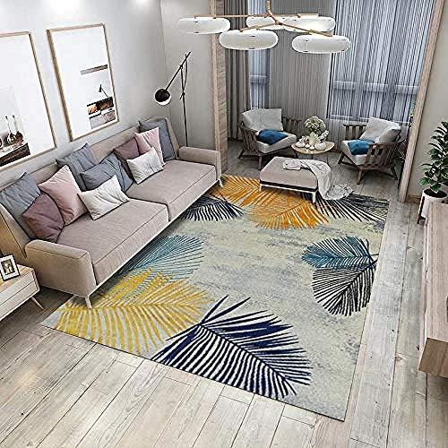 QiJi-Home Accueil Moderne Tapis Lavable Tapis Moelleux pour corridors Salon Chambre et Cuisine Feuillage Jaune Bleu 7MM 140X200CM