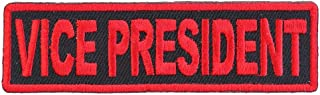 Vice President Patch Red - 3.5x1 inch. Embroidered Iron on Patch
