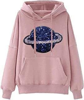 Zlolia Women's Planet Printed Pocket Sling Hoodie Long Sleeve Pullover Ladies Casual Loose Autumn&Winter Tops