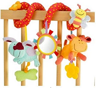 Baby Car Seat Toys Infant Activity Spiral Toy Good for Crib - Cot - Pram - Stroller and More - Rattles & Mirror for Baby B...