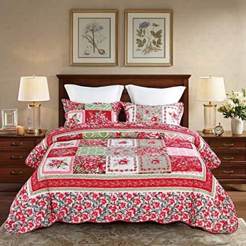 Qucover Patchwork Tagesdecke aus Baumwolle Gesteppte Bettüberwurf 220x240cm für Doppelbett Patchworkdecke mit Kissen Set in Landhausstil Rot Zweisetiges Design