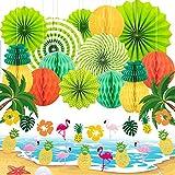 XCOZU Juego de Decoraciones Hawaianas de Fiesta de Verano, Decoraciones de Fiesta Tropical/Playa con Abanicos de Papel, Pancarta de Piña de Flamenco para Fiesta Hawaiana Luau Cumpleaños Boda