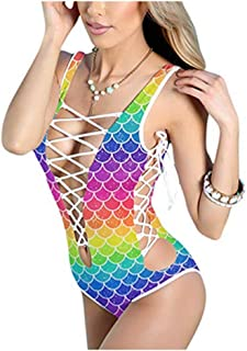 C.C-US Women's Sexy Mermaid Swimsuit Monokini Criss Cross Lace Up Swimwear Bikini for Rave