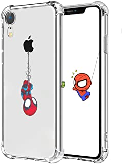 """Logee TPU Spider Funny Cute Cartoon Clear Case for iPhone XR 6.1"""",Fun Kawaii Animal Soft Protective Shockproof Cover,Ultra-Thin Chic Unique Creative Character Cases for Kids Teens Girls Boys(iPhoneXR)"""