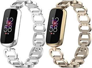 Chofit Metal Replacement Bands Compatible with Fitbit Luxe, Adjustable Links Stainless Steel Accessories Wristband Bracelet Strap for Fitbit Luxe Tracker Women Men (Champagne&Silver)