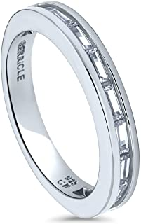 Rhodium Plated Sterling Silver Channel Set Baguette Cut Cubic Zirconia CZ Anniversary Wedding Half Eternity Band Ring