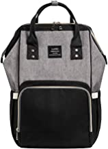 Mumfactory Diaper Bag Multi-Function Waterproof Travel Backpack Nappy Bags for Baby Care, Large Capacity, Stylish and Durable, Grey-Black
