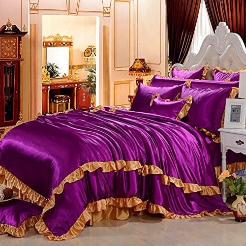 juego de ropa de cama 160x200,Ropa de cama Seda de lujo ultra suave como Satin de 4 piezas Juego de edredón (edredón + Hoja plana + Hoja ajustada + 4 fundas de almohada), Conjunto de ropa de cama con