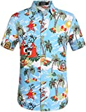 SSLR Camisa Playera Estilo Hawaiana Tropical Estampado Navideo Manga Corta para Hombre (Medium, Azul)