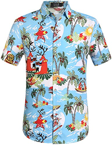 SSLR Men's Santa Claus Party Tropical Ugly Hawaiian Christmas Shirts (Large, Blue)