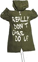 Spazeup Melanie I Really Don`t Care Do U Jacket Olive Green Graffiti Slogan Coat