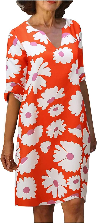 JPLZi Linen Dresses for Women, Classic-Fit Summer Plus Size V-Neck Gauze Floral Print Knee Length Short-Sleeve Dress