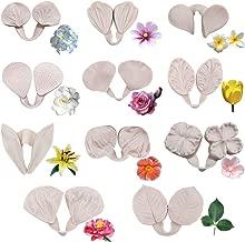 22pcs Gumpaste Flower Silicone Mold- Fondant Silicone Veining Mold, Sugarcraft Flower Making Tools for Gumpast Rose Peony Lily Calliopsis Tulips Wedding Flower Cake Decorating