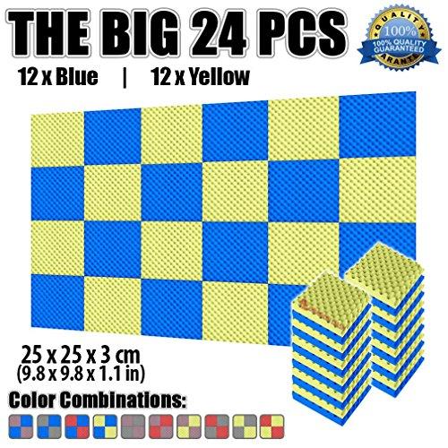 Super Dash Pacco da 24 di 25 X 25 X 3 cm Eggcrate Schiuma Fonoassorbenti Isolanti Studio Acustici Parete Piastrelle Pannelli SD1052 Giallo e blu