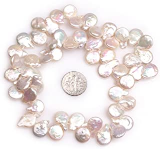 Freshwater Cultured Pearl Beads for Jewelry Making Natural Gemstone 15x12mm Top Drilled White Coin 15
