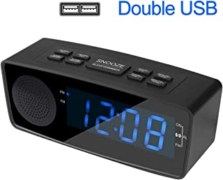 """Longsea Alarm Clock Radio Digital LED Desk Clock with FM Radio Dual USB Chargers Large 1.2"""" Display Snooze Sleep Timer Dimmer and Battery Backup for Bedrooms (Black/Blue Font)"""
