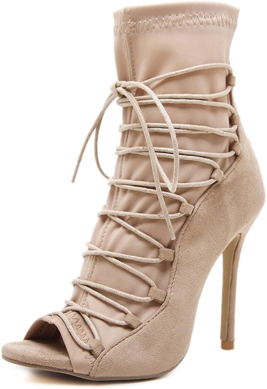 TWGDH Frauen Sandalen Stiefel High Heels Peep Peep Peep Toe Lace up Fisch Mund Party Stilettos Schuhe  82e204