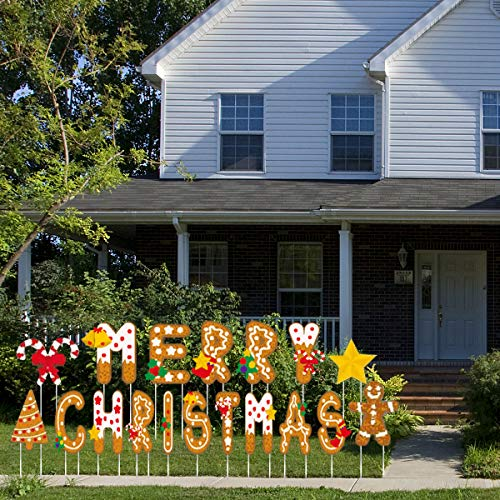 Hercugifts Merry Christmas Yard Signs with Stakes 18 Pieces Weather-Proof Letter Holiday Happy Christmas Yard Sign Decorations Outdoor Lawn Decorations Party Decorations