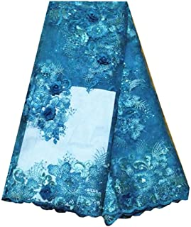 pgooodp African Lace Fabric 5 Yards French Net Nigeria Lace Embroidered Guipure Fabrics 007 (Sky Blue)