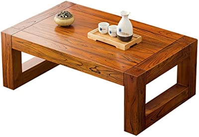 Solid Wood Coffee Table Laptop Table Sofa Side Table/Bed Desk Bay Window Table Modern Design Tea Table Ground Low Table (Color : Beige, Size : 70 * 45 * 30cm)