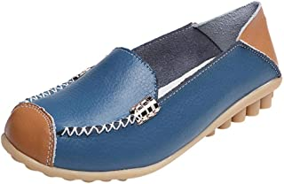UOKNICE Women Casual Flat Soft Bottom Leather Outdoor Loafer Comfortable Slip On Peas Boat Shoes Light Blue