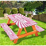 LEWIS FRANKLIN Cortina de ducha Nancy Deluxe Picnic Cubiertas de mesa, nombre popular en color rosa, mantel de borde elástico ajustable, 60 x 72 pulgadas, juego de 3 piezas para mesa plegable