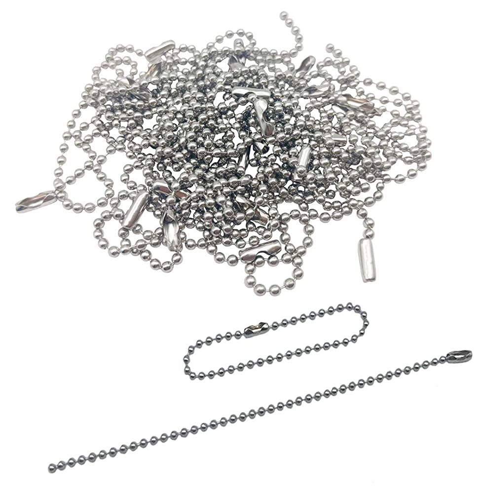 Kbraveo Nickel Plated Ball Chain 200pieces 150mm Long Bead Connector Clasp 2.4 mm Diameter Ball Bead Chain Keychain Tag Key Rings Ball Chain Necklaces
