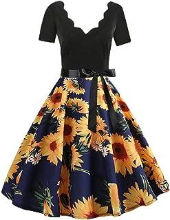 Women's Dress, Qiqiu V-Neck Evening Short Sleeve Party Midi Dress