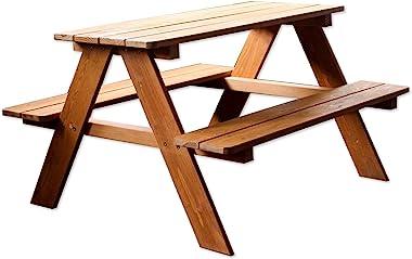 Kid's Brown Wood Picnic Table Boys Girls