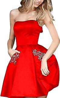 فساتين PromC قصيرة للنساء 2019 لحفلات العودة إلى الوطن مع جيوب ثوب وصيفة العروس P004