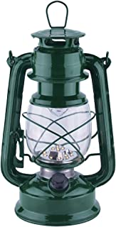 Vintage LED Hurricane Lantern, Warm White Battery Operated Lantern, Antique Metal Hanging Lantern with Dimmer Switch, 15 LEDs, 150 Lumen for Indoor or Outdoor Usage (Green)