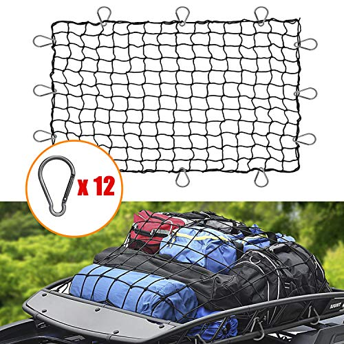 Seven Sparta 3'x4' Roof Cargo Net Stretches to 6'x8' with 12 Carabiner Clips for SUV, UTV, ATV, Jeep, Pickup Universal Rooftop Bungee Luggage Net