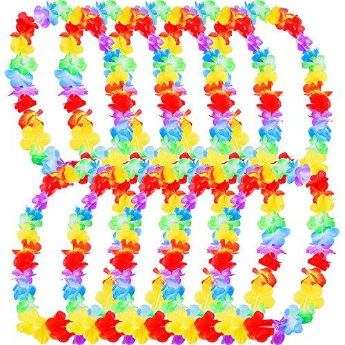 eBoot - Collier Hawaiane de Fleurs, Party en Plage, Multicolore, Flower-Necklace