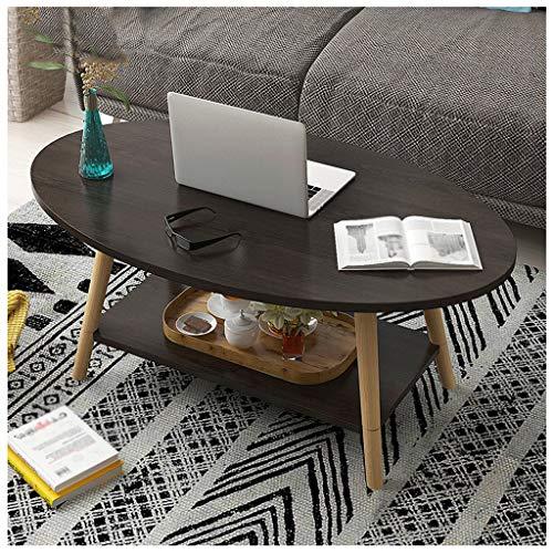 Kaffeetische LQ Oval Beistelltisch 2-Schicht-Couchtisch Holz Retro Teetisch Wohnzimmer Balkon Kleine Wohnung Sofa 100X50X42cm (Color : Black)