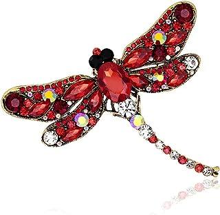 Broche de gankmachine Rhinestone de libélula, broche de animales, broche para mujer, vestido de bufanda, broche, rojo, wie...