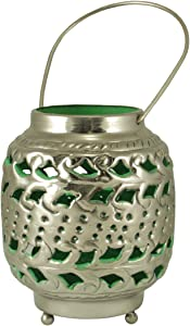 "Kaemingk 4"" Tropicalia Silver and Green Cut-Out Floral Tea Light Candle Holder"