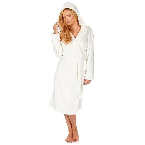 Ladies Hooded Housecoat Fleece Bath Robe Dressing Gown Soft Womens Size 8-22 388c433cd