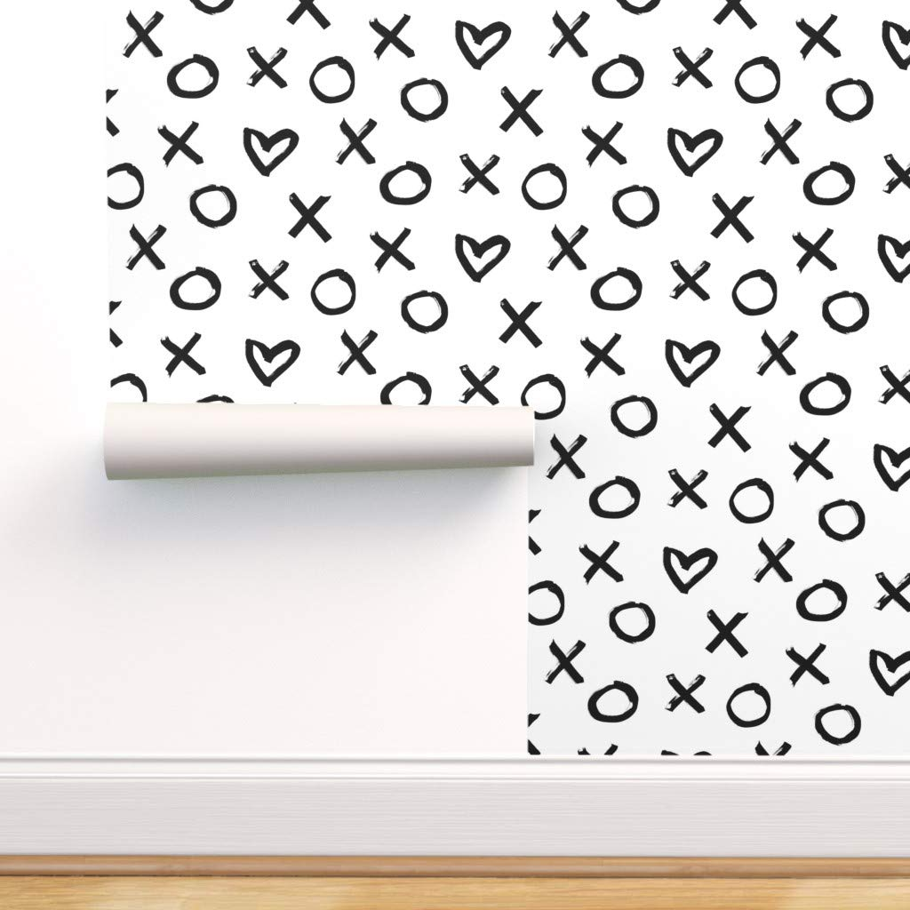 Amazon Primuspattern クロス壁紙ロール ハートモノクログランジxo ブラックとホワイト バレンタインデー 1ロール 24インチ X 27フィート Sample Swatch 12in X 24in R Iso2427 Cw D S1 Swatch 壁紙
