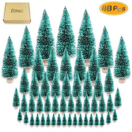 Etmact 24pcs Mini Pine Trees Frosted Sisal Trees with Wood Base Bottle Brush Trees Plastic Winter...