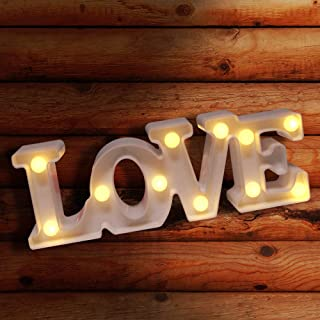 LED Letter Lights Sign Alphabet Light Up Marquee Letters Sign for Night Light Wedding Birthday Party Battery Powered Christmas Lamp Home Bar Decoration - Love