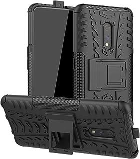 Muhygje YHMためのホルダーとOPPO Realme XタイヤテクスチャTPU + PC耐衝撃ケース(ブルー) (Color : Black)