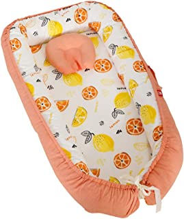 Abreeze Baby Bassinet for Bed -Fruit World-Orange Baby Lounger - Breathable & Hypoallergenic Co-Sleeping Baby Bed - 100% Cotton Portable Crib for Bedroom/Travel