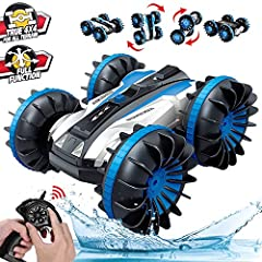 🐋【Full Function Stunt Car】:360-degree rotation on land and water.Double-side running RC car suitable for all terrain.Rapid flipping back & front on land to show complex stunt actions.Driving smoothly on land or water. 🐋【Amazing Speed】:Built-in powerf...