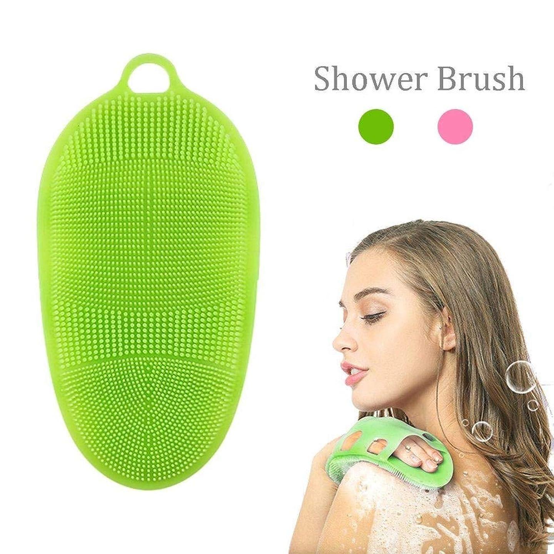 溶かす可能にするメイトソフトシリコンボディブラシボディピーリングバスグローブ洗顔スキンスパマッサージ、敏感肌用、あらゆる種類の肌用 (色 : 緑)